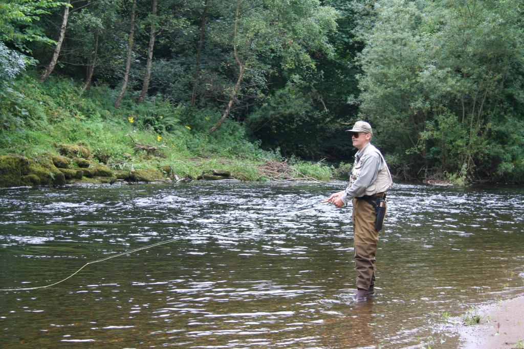 Gennady Zharkov, Chairman of Russian Salmon Fund, Fishing Red Brae Pool