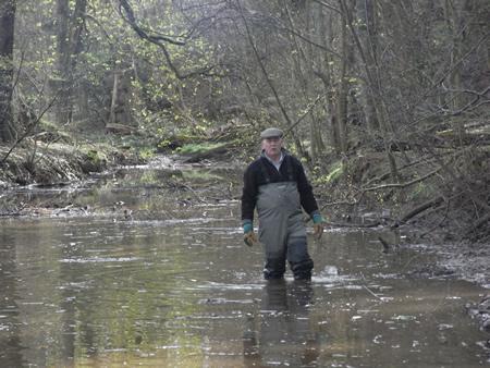TA wading in the 'porridge' of silt in the Lemno Burn at Finavon